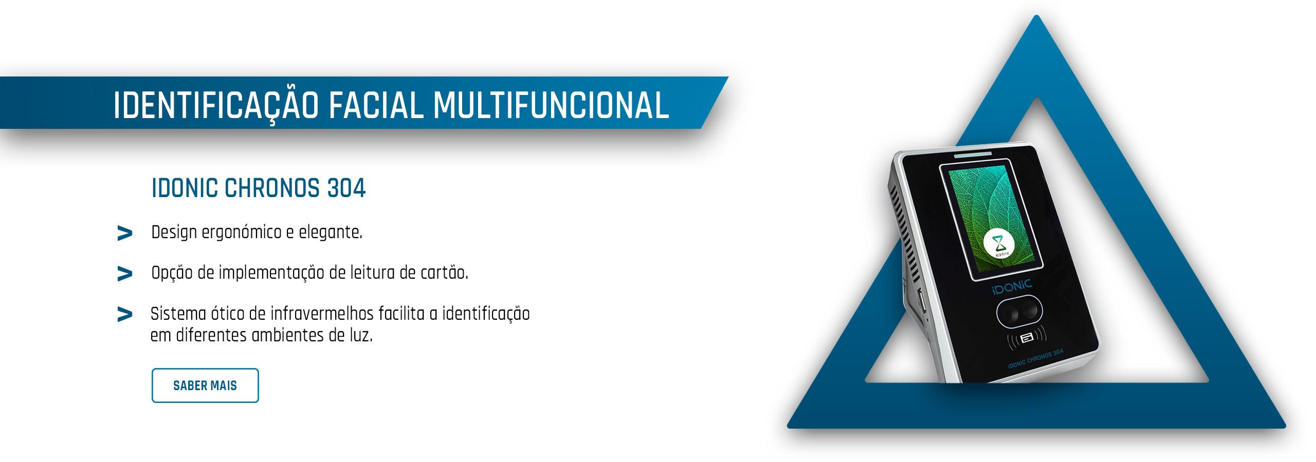 Relógio de Ponto por Leitura Facial e Cartão de Aproximação RFID - IDONIC CHRONOS 304